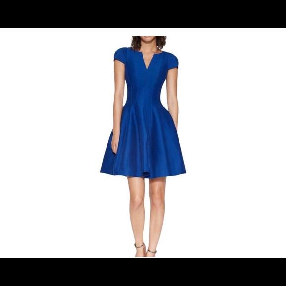 8cdd02fe3 Halston Heritage Royal Blue Notch Neck Tulip Dress NWT
